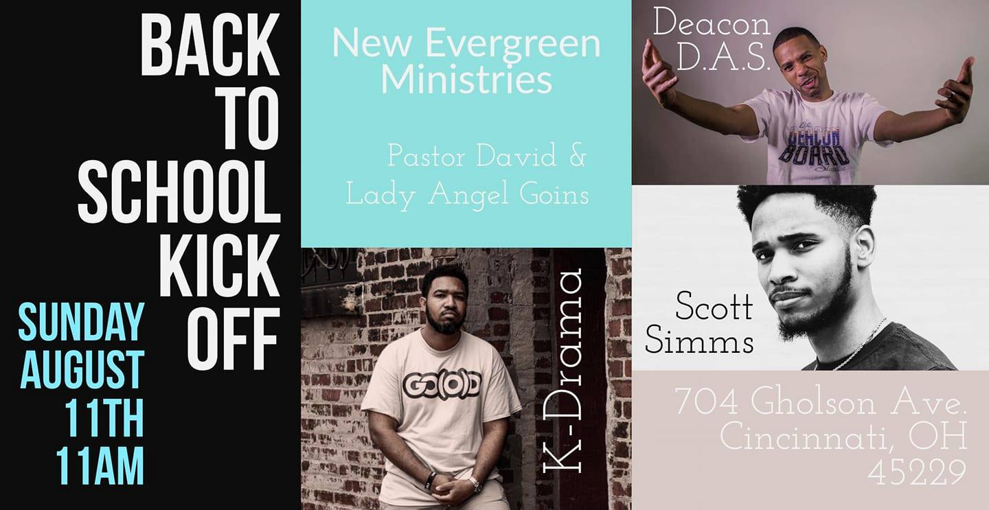 New Evergreen – Back to School Kick-off : Sun. Aug 11th – Cincinnati, OH