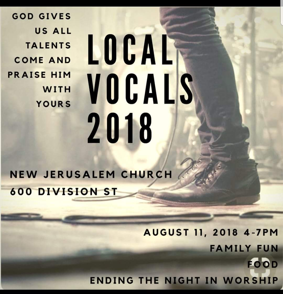 NJC presents… Local Vocal 2018 : 4pm, Sat. Aug 11th – Defiance, Ohio