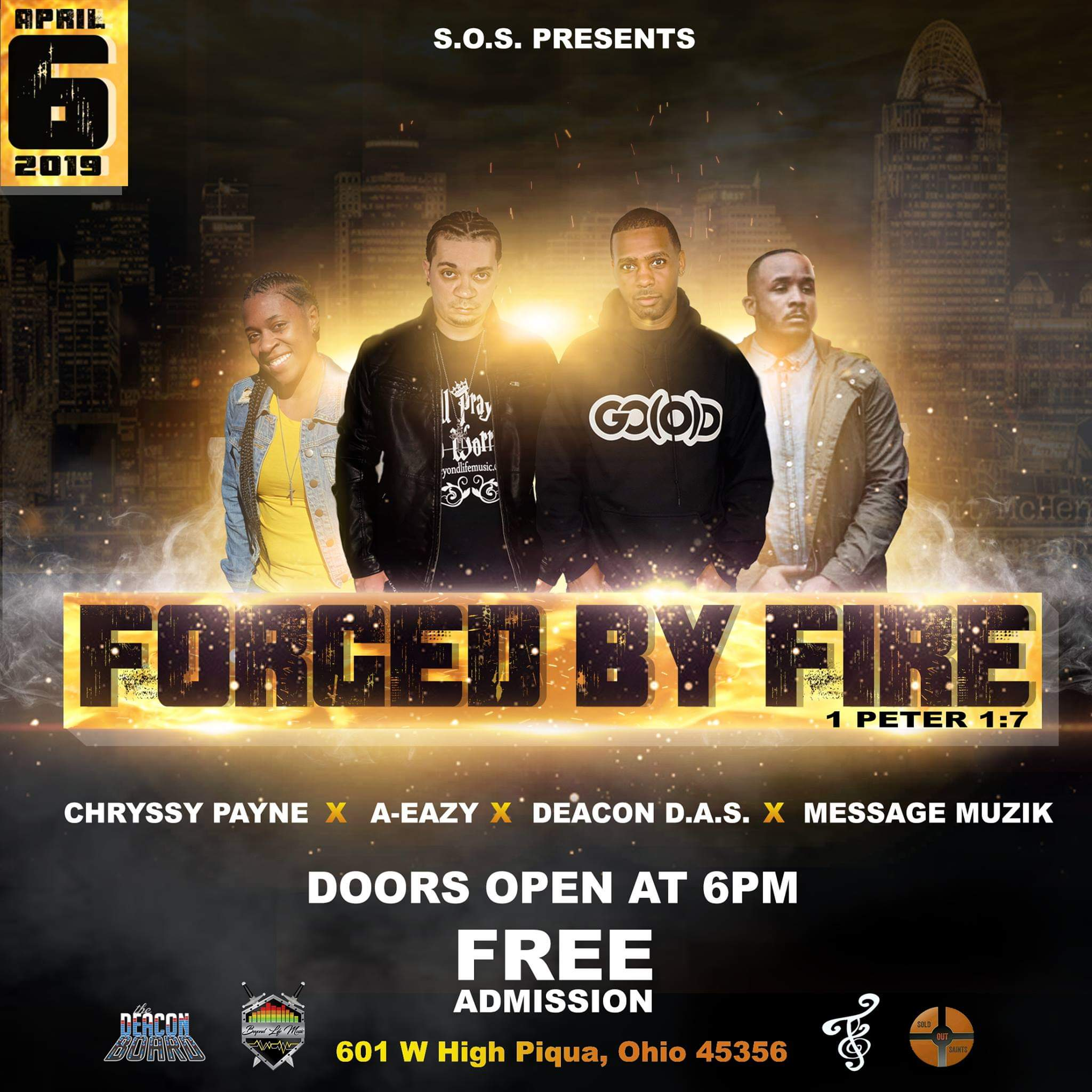 S.O.S. presents… Forged by Fire : Sat. April 6th – Piqua, Ohio
